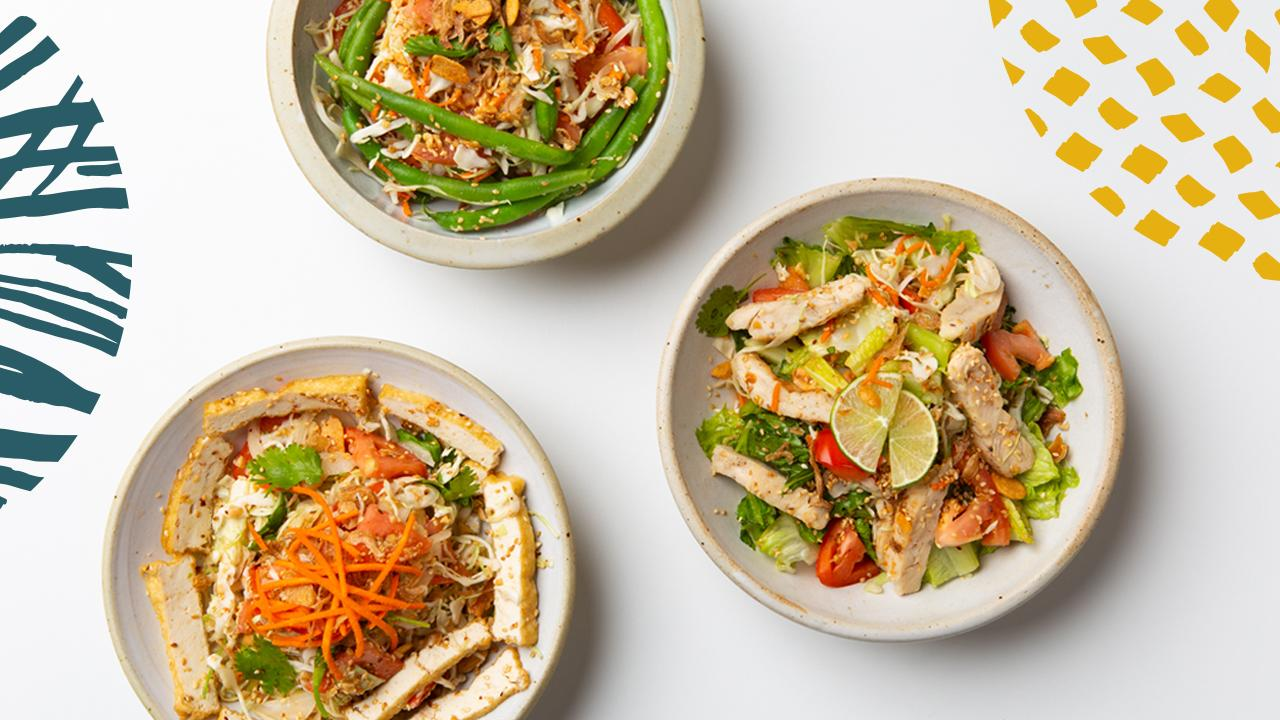 Salads at the fast-casual Bandoola Bowl in Georgetown. (Image: Courtesy General Design Company)