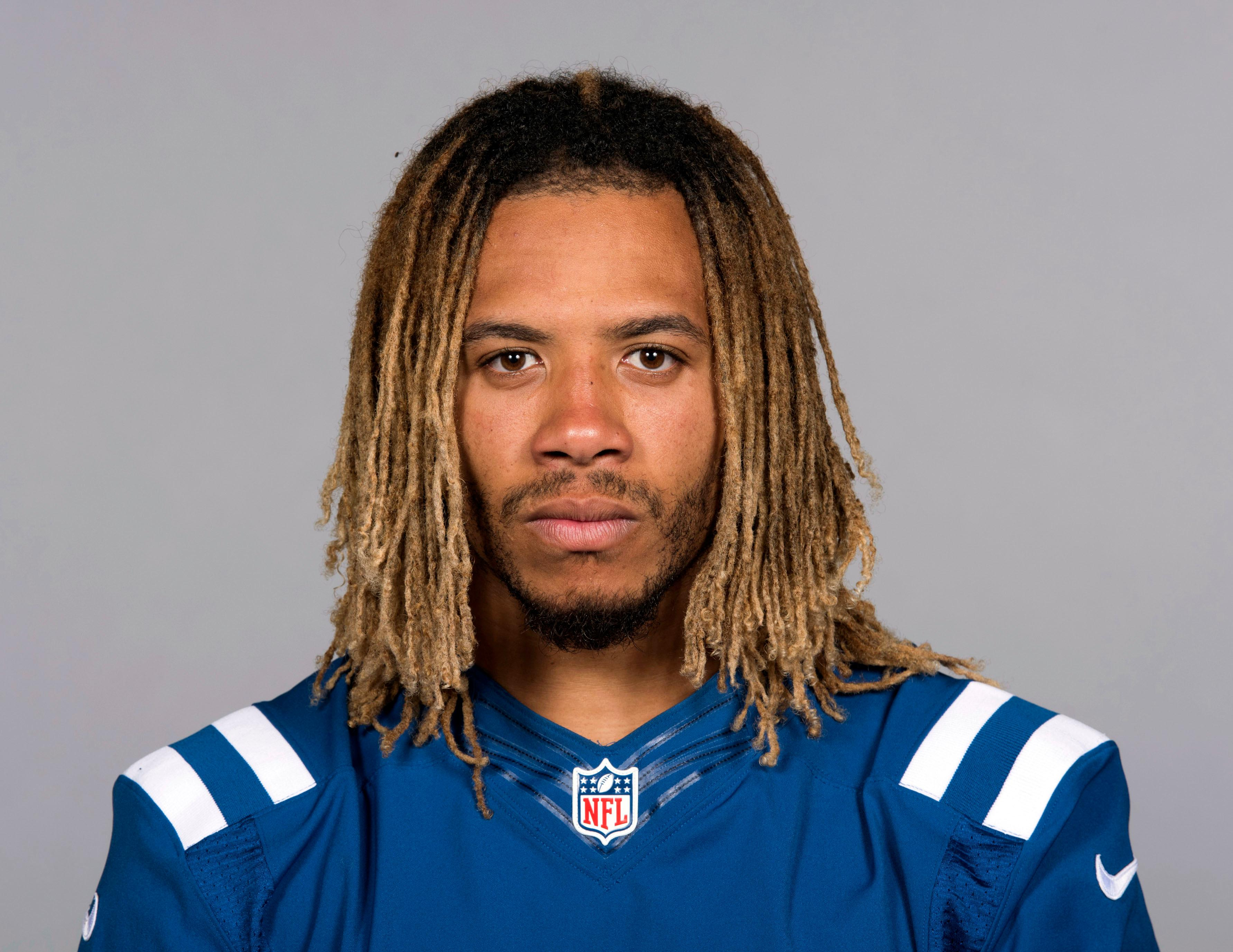 "FILE - This June 13, 2017 file photo shows Indianapolis Colts football player Edwin Jackson.  Jackson, 26, was one of two men killed when a suspected drunken driver struck them as they stood outside their car along a highway in Indianapolis. The Colts said in a statement Sunday, Feb. 4, 3018, that the team is ""heartbroken"" by Jackson's death. Authorities say the driver that struck them before dawn on Sunday tried to flee on foot but was quickly captured.  (AP Photo, File)"