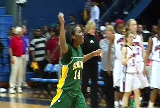 2-time Miss Hoop Zone Khadijah Sessions celebrates Myrtle Beach victory.