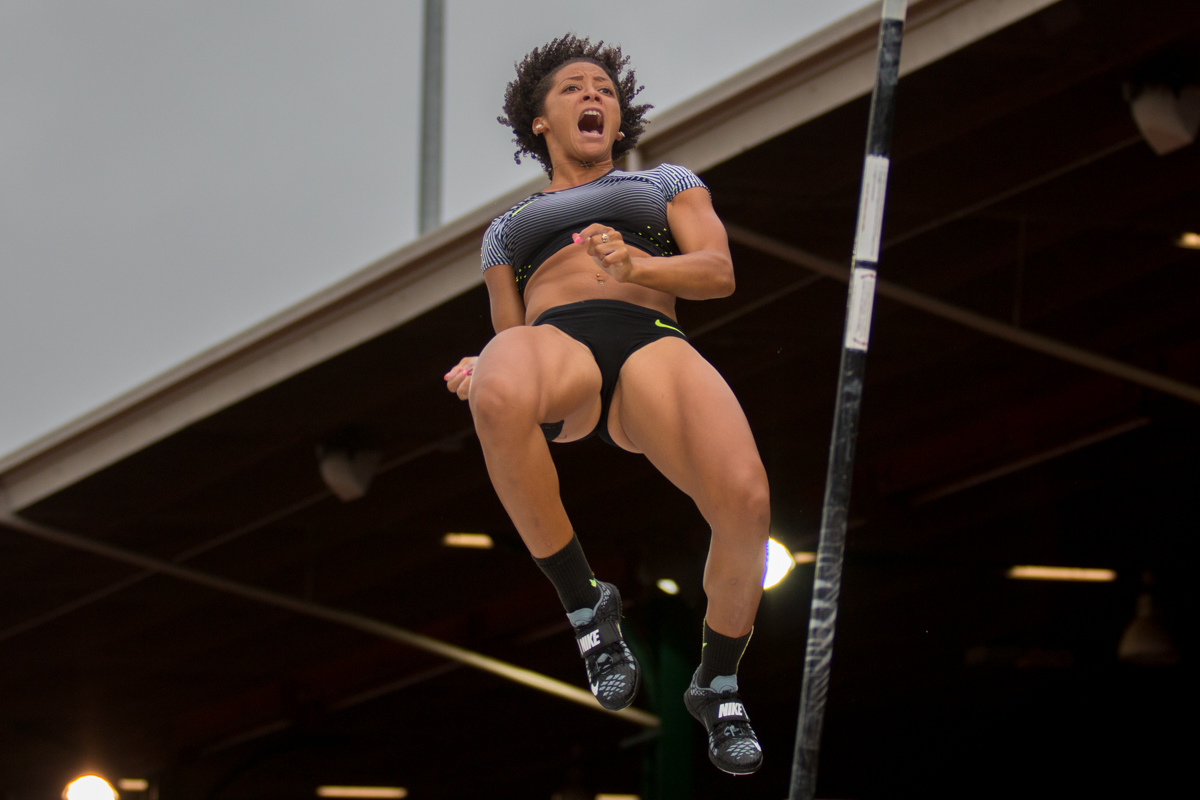 Nike�s Kristen Brown celebrates after she clears 4.5 meters in the pole vault. Day Ten of the U.S. Olympic Trials Track and Field concluded on Sunday at Hayward Field in Eugene, Ore. Competition lasted July 1 - July 10. Photo by Dillon Vibes