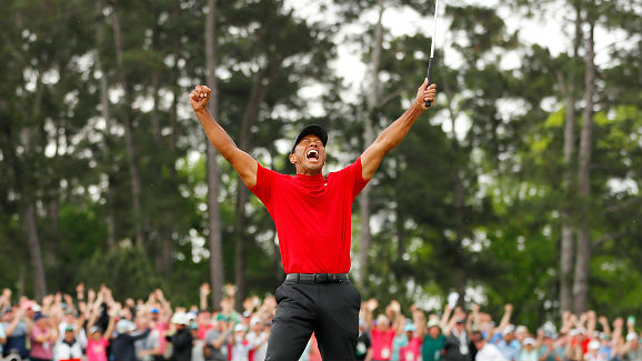 It's Woods first major win since 2008.