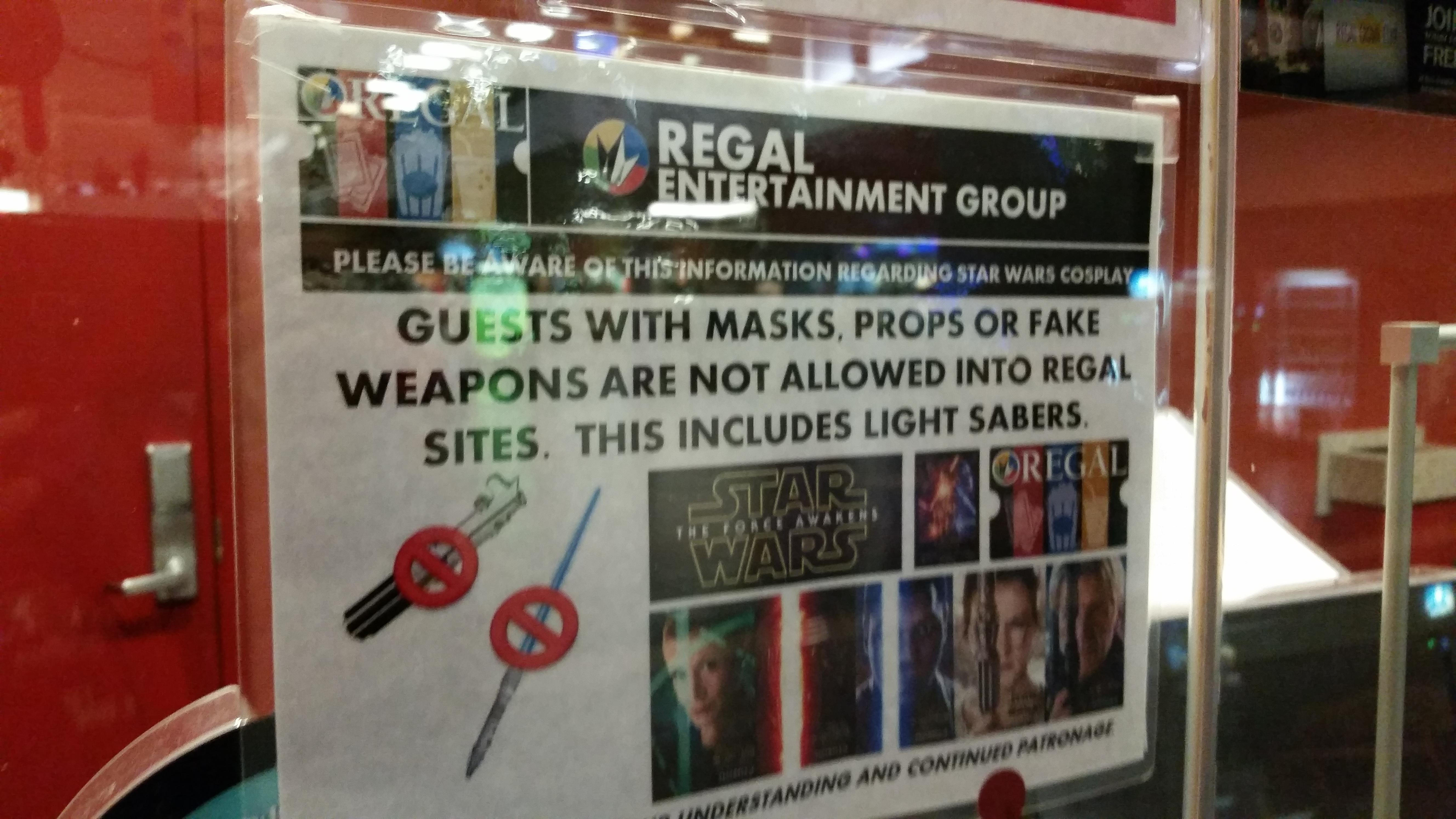 Theater companies ask fans to leave masks, sabers and other items at home.