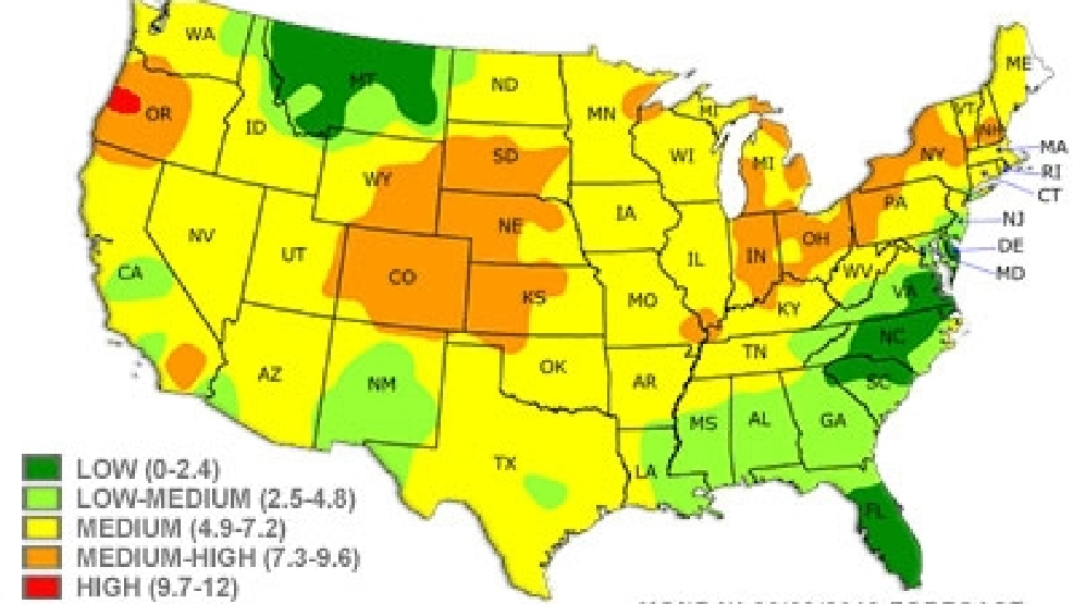 Map Of The Day The Allergy Map Springtime Allergy Family Survival