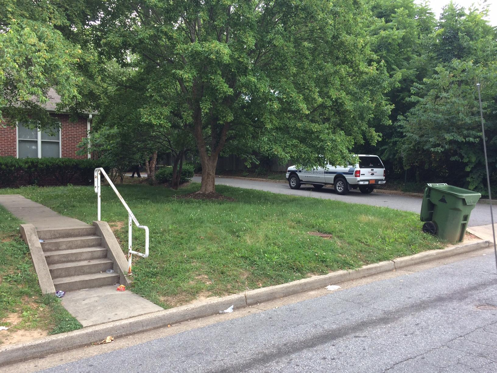 Asheville police responded to a report of shots fired in the Shiloh area about just before 2 p.m. Thursday. Not long after, a person went to Mission Hospital with a gunshot wound. (Photo credit: WLOS staff)