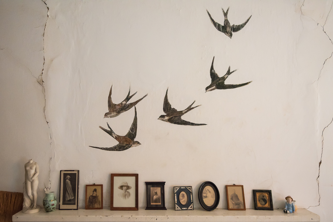 One of the signatures of the Dinsmore Homestead is its population of swallows that visit the property. They're so iconic to the identity of the homestead that they often find their image into the artwork of the house itself. These swallows were painted by one of the Dinsmore girls on a bedroom wall. / Image: Phil Armstrong, Cincinnati Refined // Published: 6.15.18