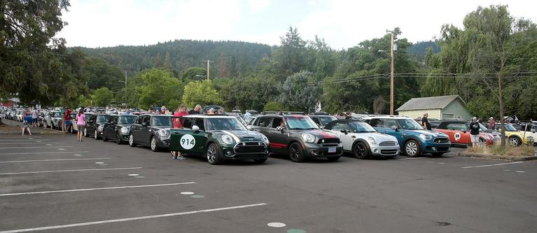 Mini Cooper's from near and far converge on Southern Oregon Univeristies campus in Ashland on Sunday as one of the legs of the Mini Takes The States rally for Feeding America.    [PHOTO BY:  LARRY STAUTH JR]
