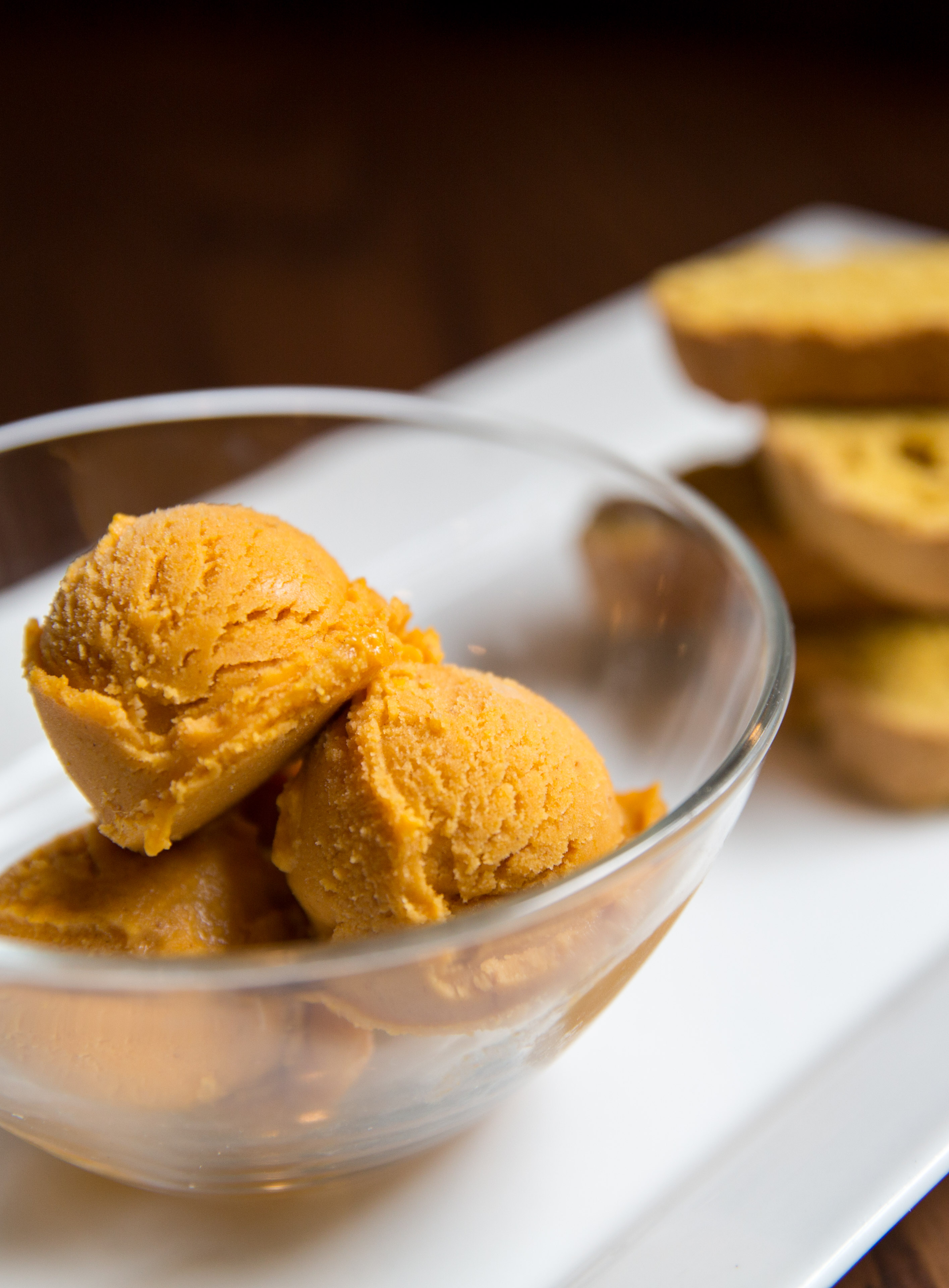 <p>Pumpkin Gelato ($9), with pumpkin biscotti.{&nbsp;} You can find these amazing pumpkin items at Tulio until October 31! (Image: Adela Lee).</p>