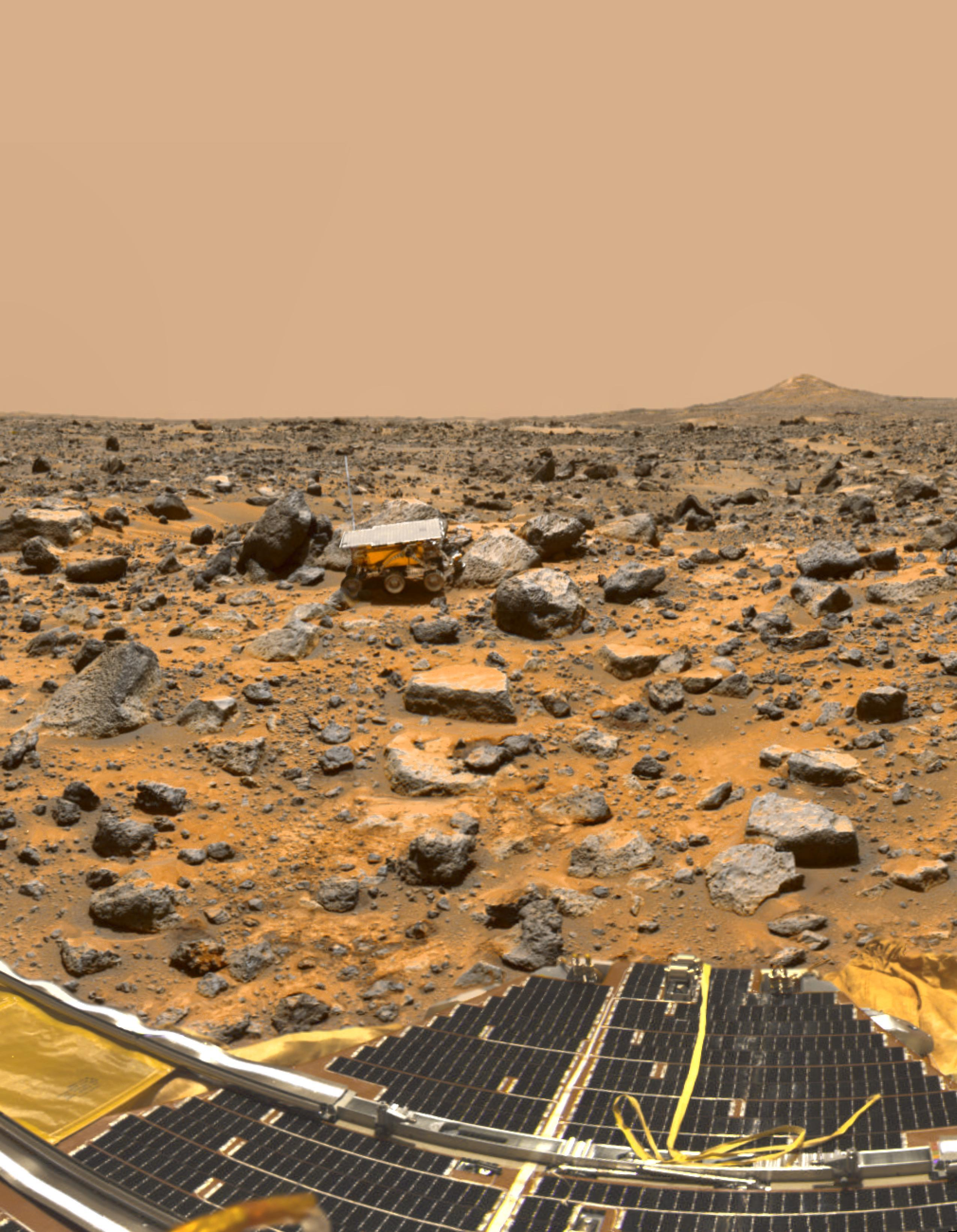 PICTURE SHOWS: Mars Pathfinder American robotic spacecraft (1997-12-12)  ...   Prepare to have your mind blown - NASA has collected together a treasure trove of more than 140,000 images, videos and audio files.  The stunning collection consolidates imagery spread across more than 60 collections into one searchable location, called the NASA Image and Video Library website.  Cover Images have chosen a gallery of the most popular images currently on the website, which include the first American astronaut to walk in space and a self-portrait of NASA's Curiosity Mars rover.  The portal allows users to search and discover content from across the agency's many missions in aeronautics, astrophysics, Earth science, human spaceflight, and more.  The library is not comprehensive, but rather provides the best of what NASA makes available from a single point of presence on the web. Additionally, it is a living website, where new and archival images, video and audio files continually will be added.  When: 12 Dec 1997