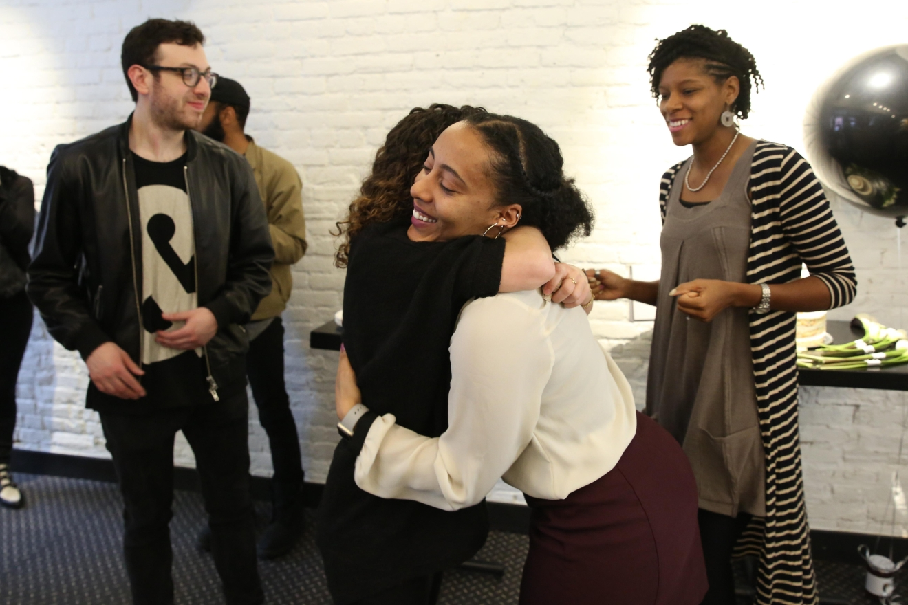 Bethlehem hugs friend Giulia Manno, who was the couples' witness. (Amanda Andrade-Rhoades/DC Refined)