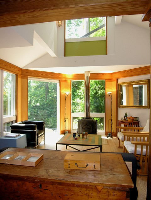 The Architect bought them in 1978 and began work that continues to this day, first combining 2 of the cottages as his own house, then converting the remaining 2 structures to his office, which is also part of this tour. Gardens and a pool connect it all on this wooded hillside site.(Image: Courtesy McInturff Architects)