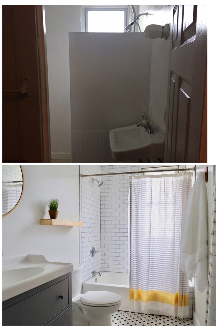 Before/after of the bathroom / Image courtesy of Nicole Nichols // Published: 1.8.19