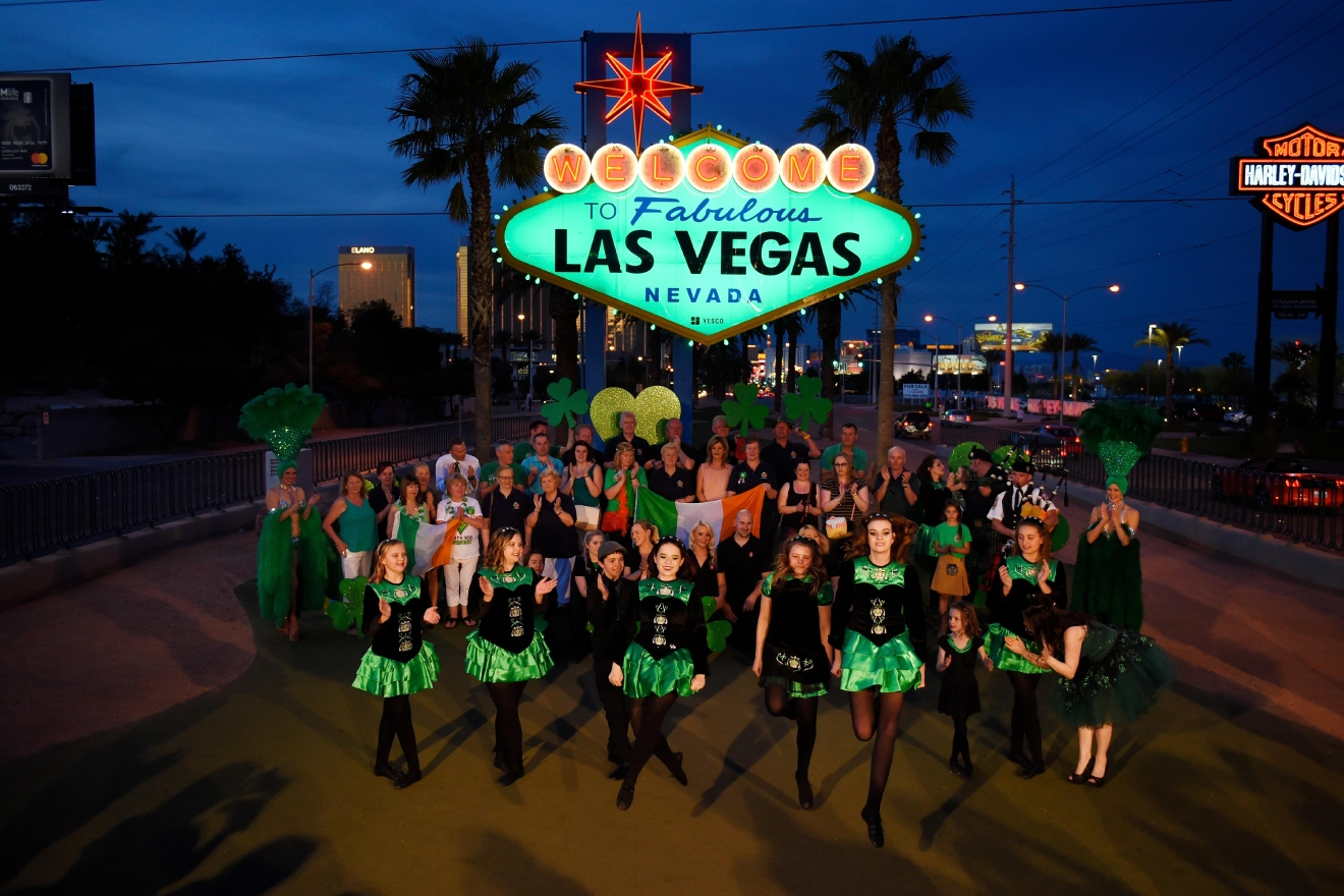 "Dancers from the Sharon Lynn Academy of Irish Dance perform as the ""Welcome to Fabulous Las Vegas"" sign is turned green in honor of St. Patrick's Day Thursday, March 16, 2017. (Sam Morris/Las Vegas News Bureau)"
