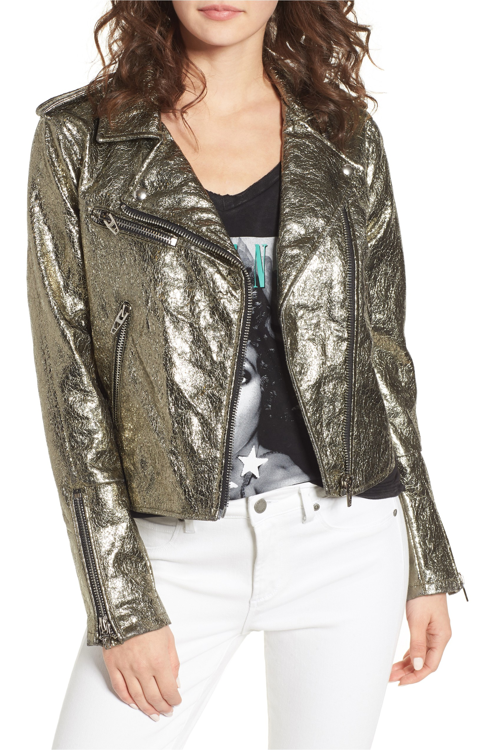 Metallic Faux Leather Moto Jacket was originally $128.00 and is now: $76.80. Rugged zip details boost the edgy, moto-inspired vibe of this metallic faux leather jacket designed to add a dose of cool to any look.<p>(Image: Nordstrom)</p>
