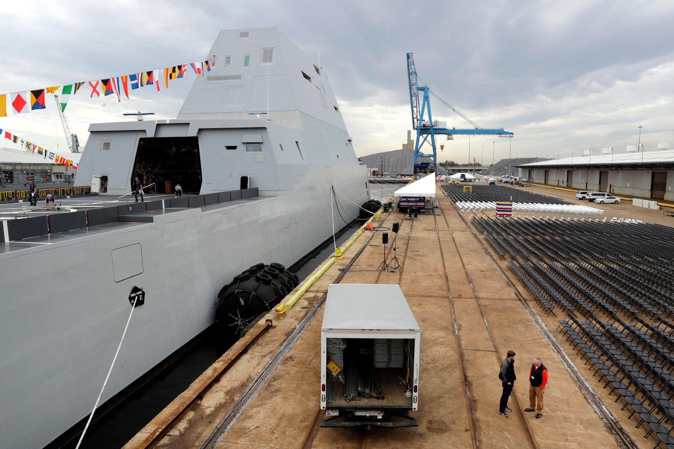 This Oct. 13, 2016 photo shows the U.S. Navy's newest guided-missile destroyer, the future USS Zumwalt, docked in Baltimore, as preparations take place for the destroyer's commissioning ceremony. (AP Photo/Patrick Semansky)