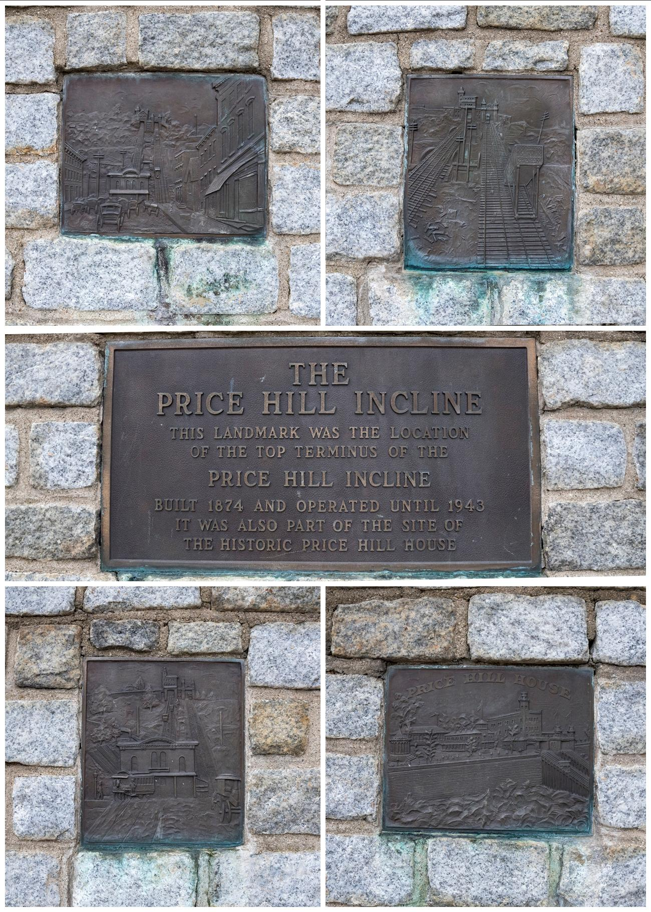 A series of plaques (seen collected here) in Olden View Park make mention of the former incline today. / Image: Phil Armstrong, Cincinnati Refined // Published: 1.2.19