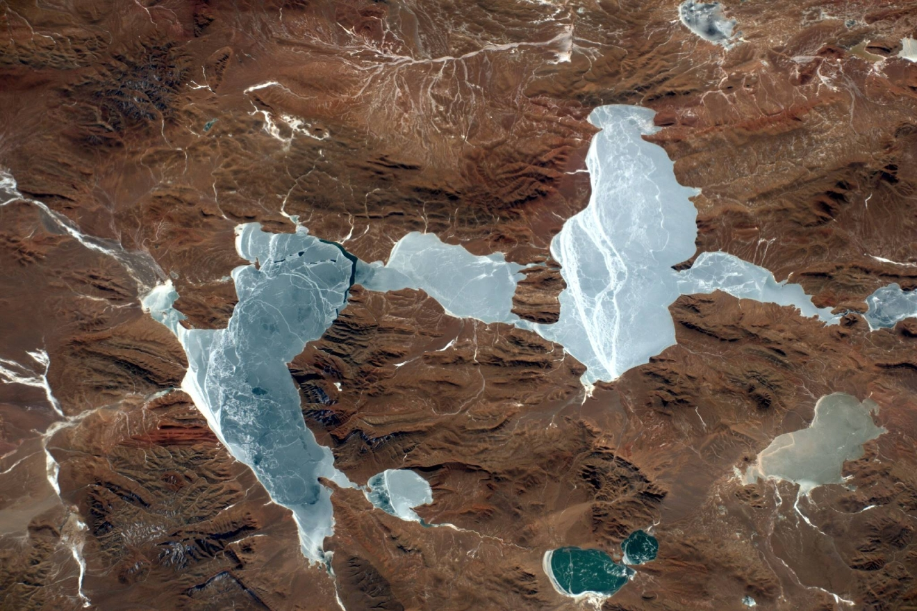 This frozen lake in the Andes is at more than 5000m altitude!  (Photo & Caption: Thomas Pesquet // NASA)