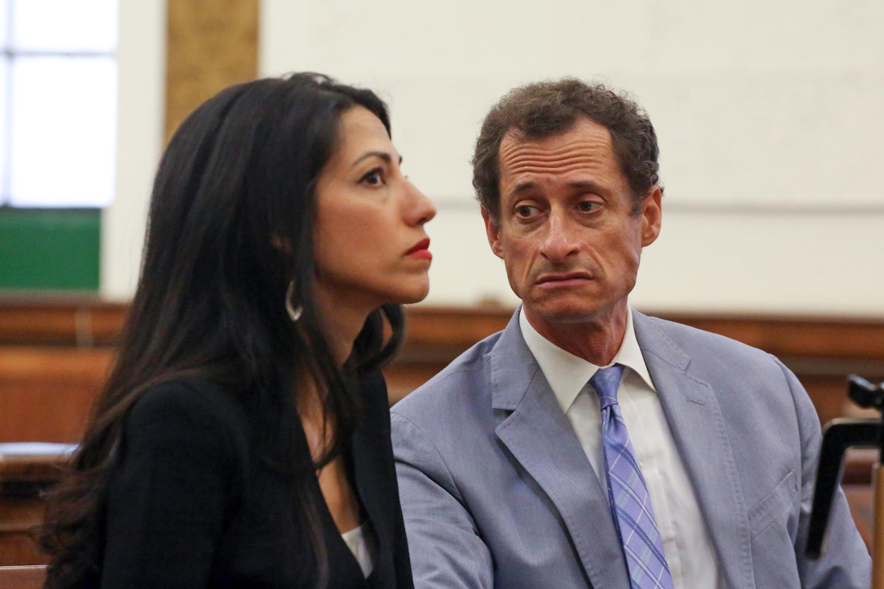 Anthony Weiner, right, and Huma Abedin appear in court in New York on Wednesday, Sept. 13, 2017.{&amp;nbsp;} (Jefferson Siegel/The Daily News via AP, Pool)<p></p>