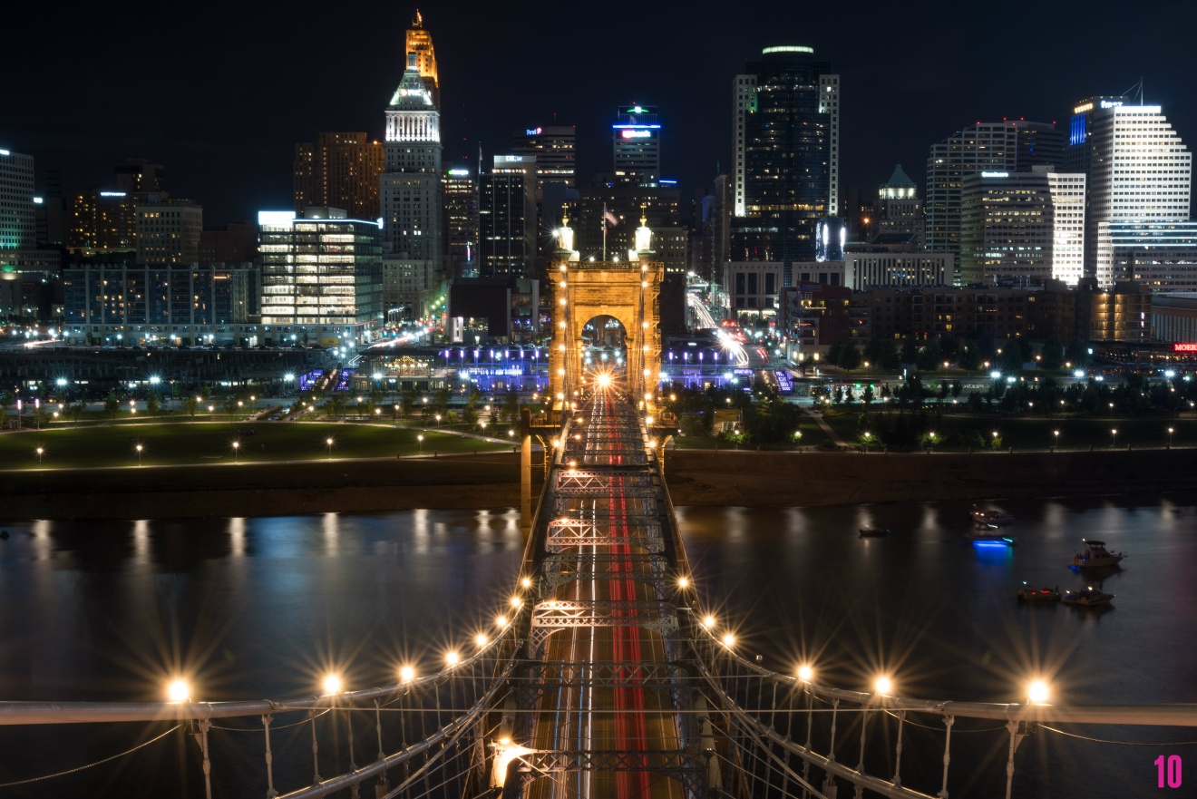 "#10 - We started with a sunrise and we're gonna end with this, an unreal pic taken on top of the Roebling Bridge. This photo was part of our ""25 Most Beautiful Places In Cincy"" gallery that you can find on the Travel page. / Image: Phil Armstrong, Cincinnati Refined"