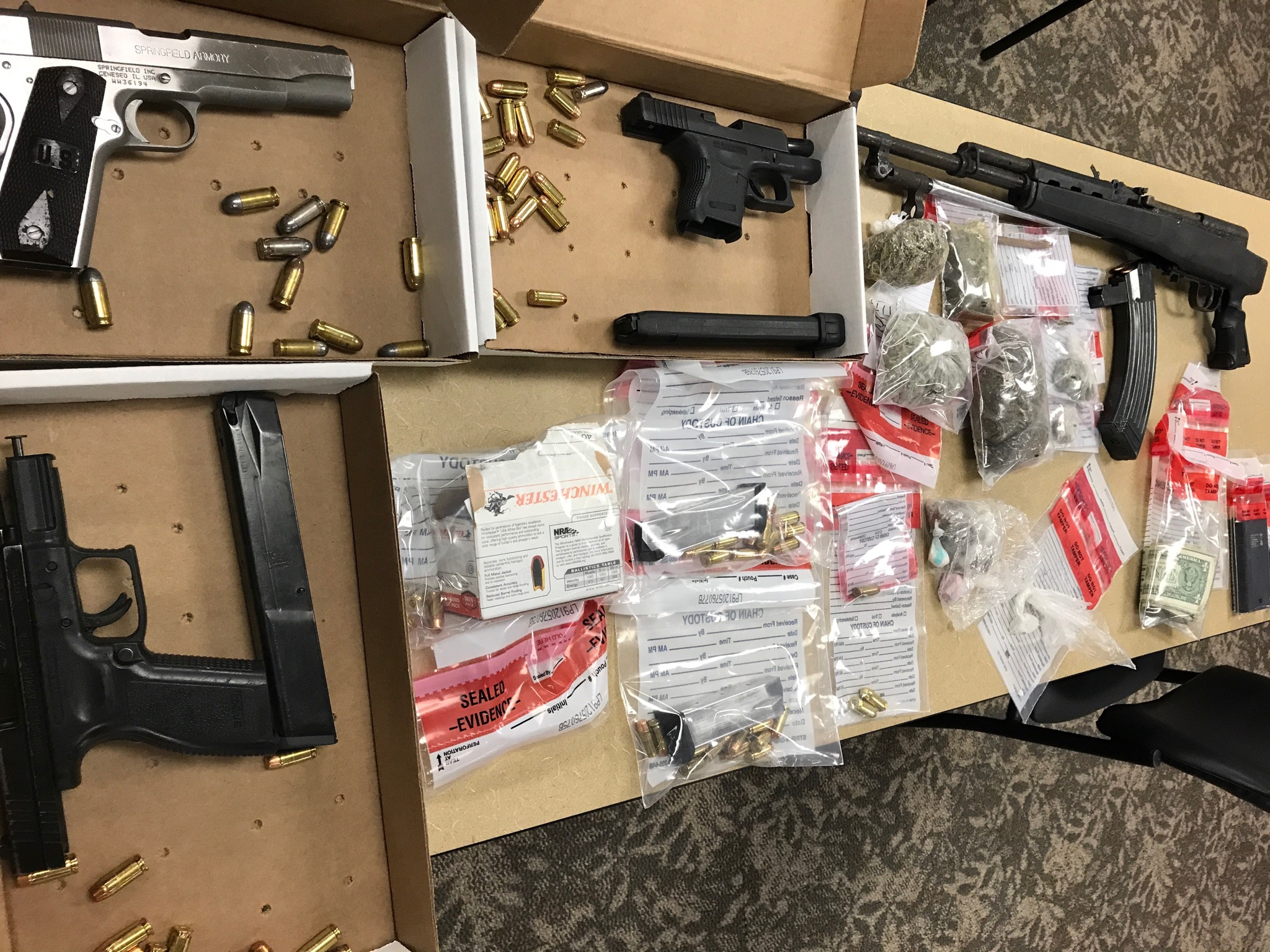 This photo of items taken from the home was provided by the North Charleston Police Department.