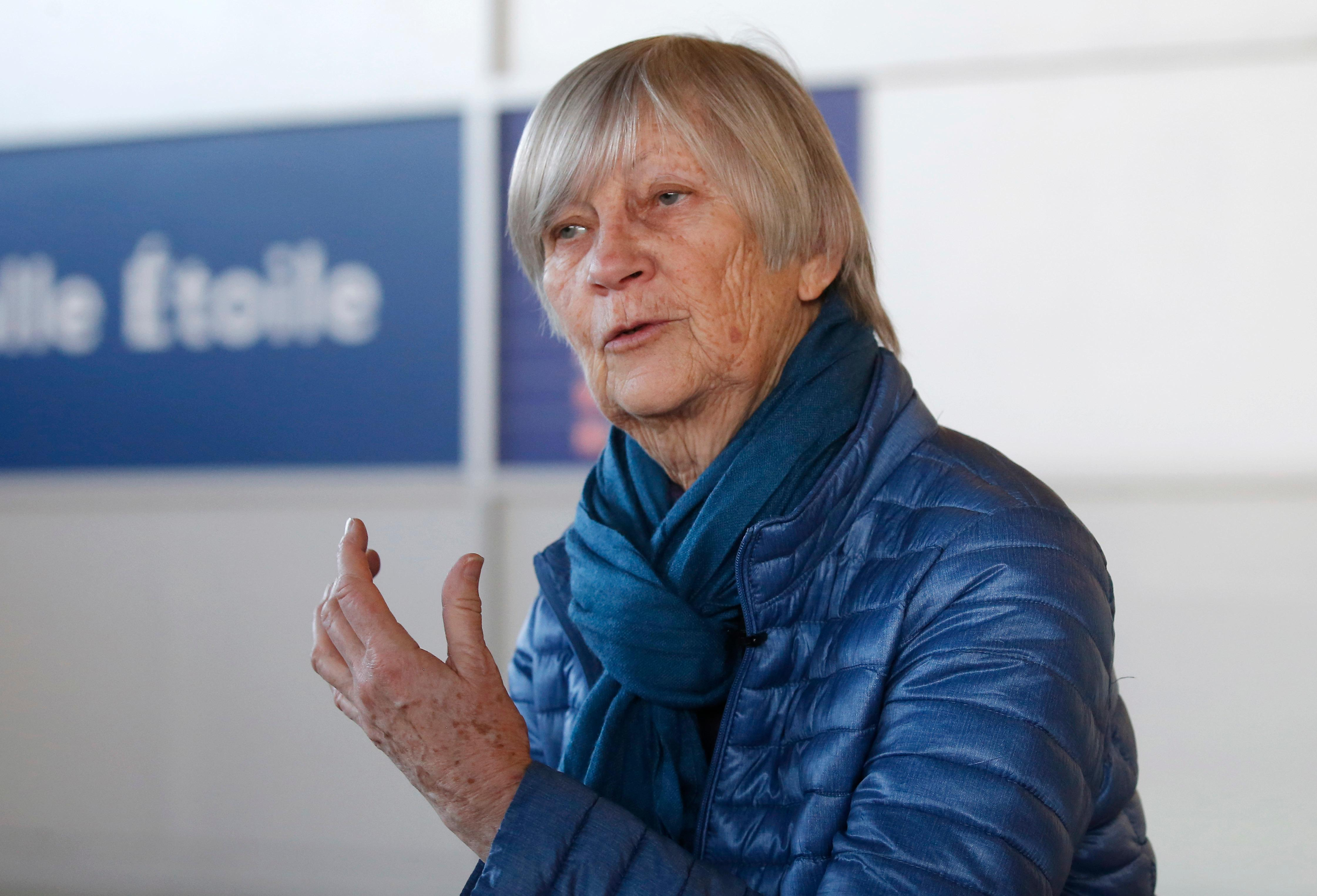 Catherine Bonnet, French child psychiatrist and a member of the Pontifical Commission for the Protection of Minors, gestures as she speaks during an interview with the Associated Press at Charles de Gaulle airport outside Paris, France, Sunday, Feb. 4, 2018. Commission members and a church sex-abuse victim say Pope Francis received a letter from the victim in 2015 that graphically detailed his abuse and a cover-up by Chilean church authorities, contradicting the pope's recent insistence that no victims had come forward. (AP Photo/Michel Euler)