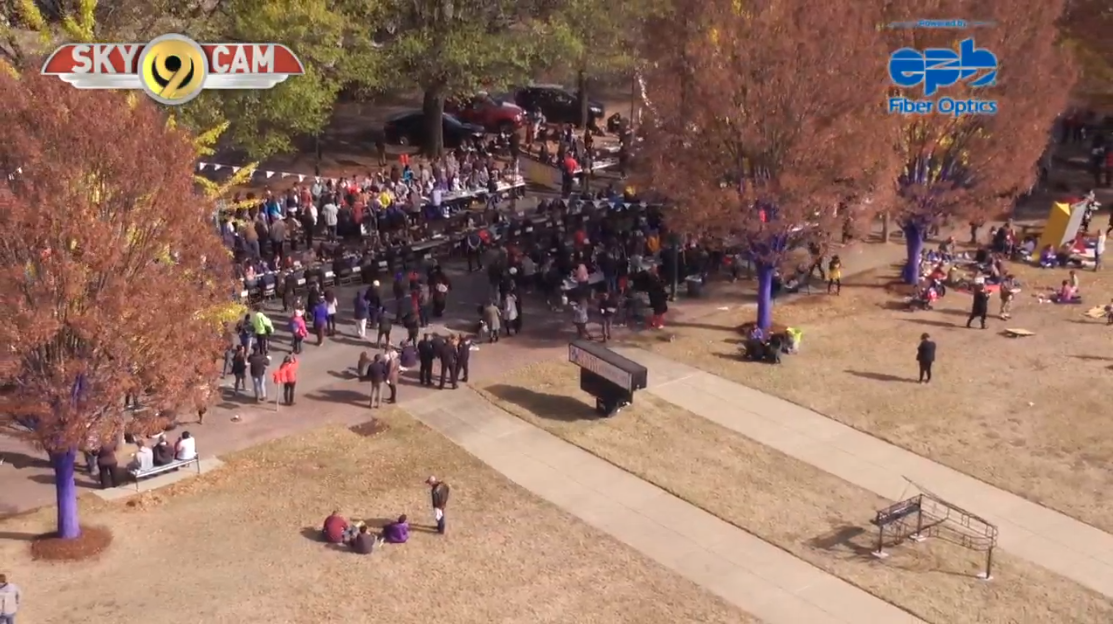 The NewsChannel 9 SkyCam took a look at the 1Table event from above as hundreds of people came together to share a meal and share some friendship.