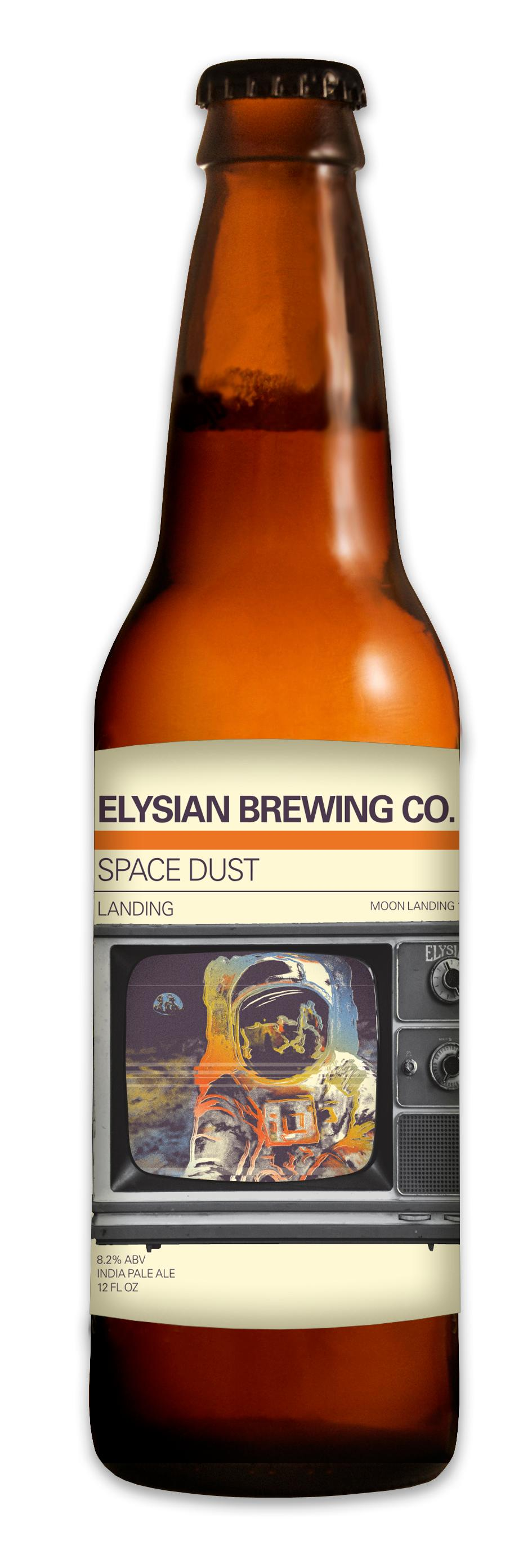"Saturday, July 20, 2019 marks the 50th anniversary of the Apollo 11 moon landing and the celebrate the historic event, Elysian Brewing is releasing a ""specifically-designed Space Dust IPA 6-pack featuring three unique labels commemorating each phase of the voyage."" Labels will include Lift-off, landing and return! You can find these limited-edition retro bottles in stores now! (Image courtesy of Elysian Brewing)."