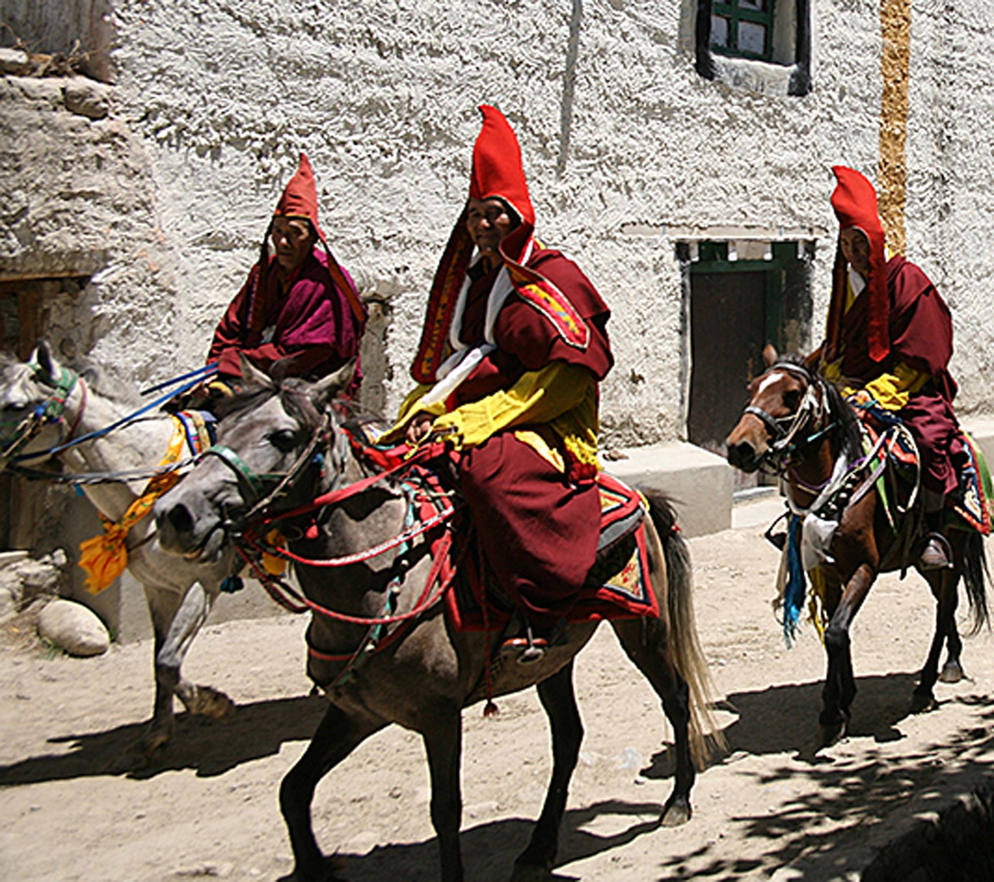 Riders make their way down the street in the medieval culture of Mustang in the Himalyas in the movie 'Talking To The Air,' one of two movies to be shown Sunday at a fundraising event for local nonprofit Riding Beyond. [Courtesy image]