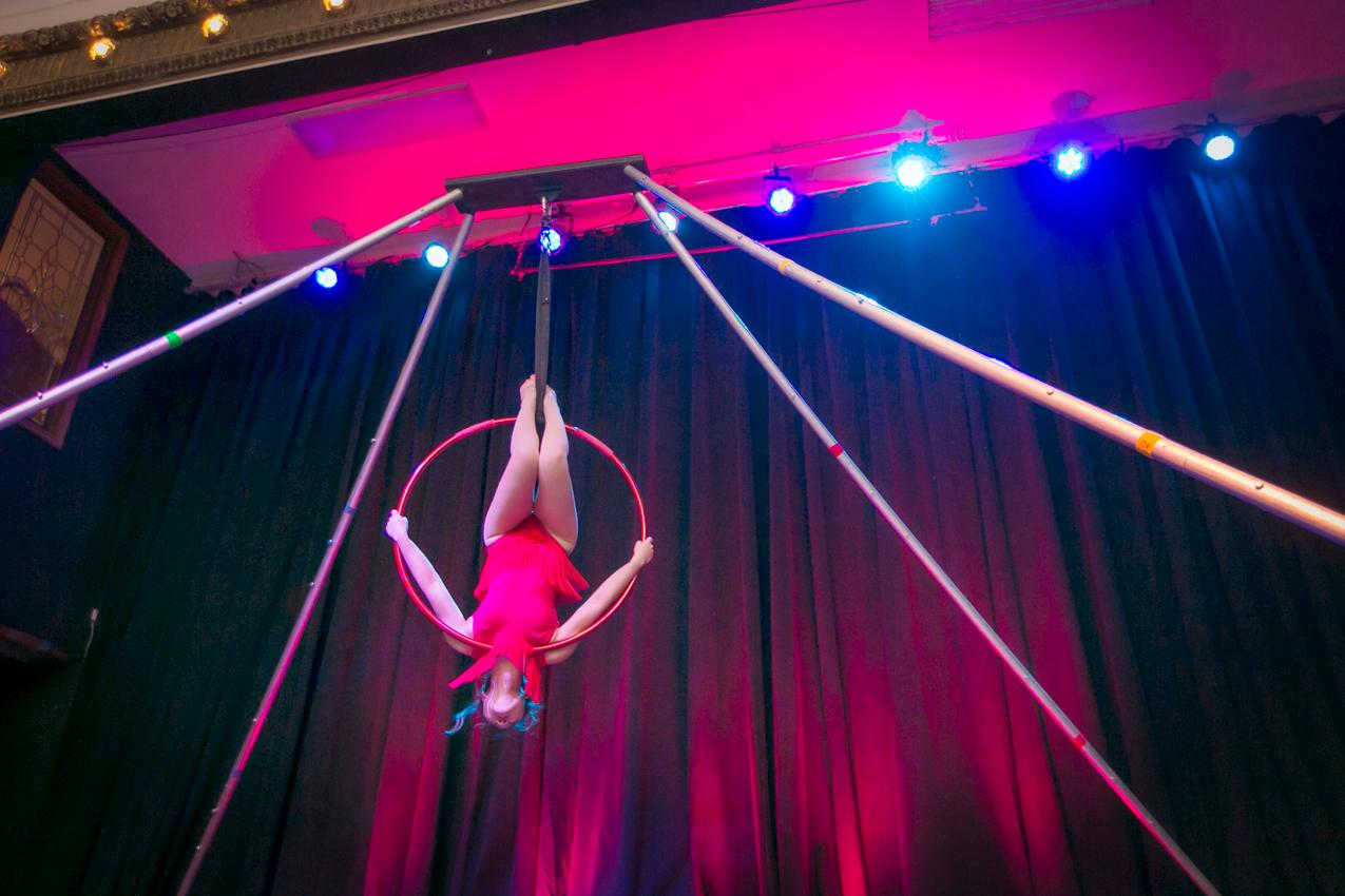 "The Woodward Theater hosted 'Like, Whatever,' a 90s-themed dance party and aerial circus on Saturday, June 29th. The show, organized and executed by Passion Productions, featured aerial performances, a ""Circus After Dark,"" and a dance party to finish the night. / Image: Mike Bresnen // Published: 6.30.19"