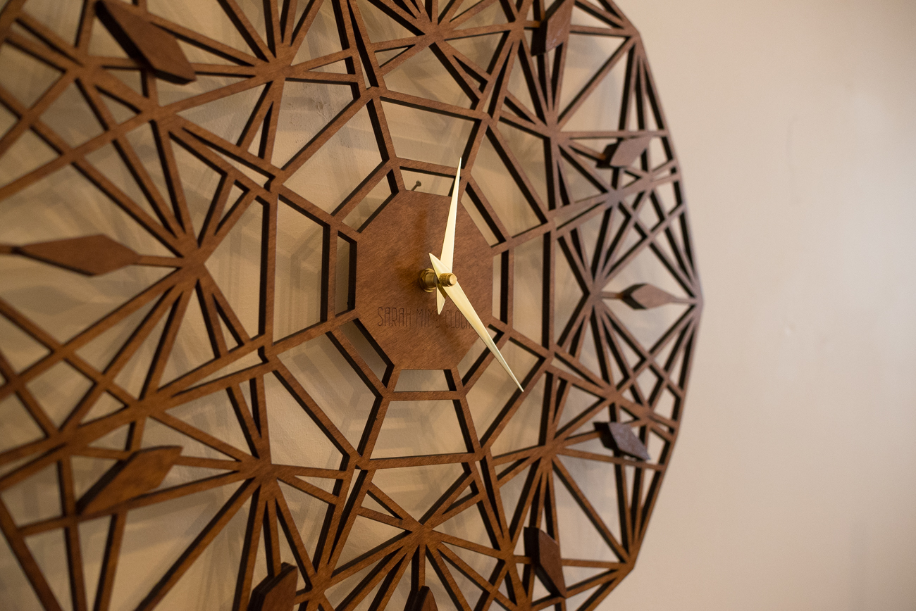 Laser-cut clock by Sarah Mimo / Image: Phil Armstrong, Cincinnati Refined / Published: 11.12.16