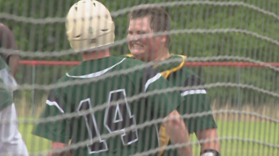 Jacob celebrates after scoring vs. Midland (photo: KATV)