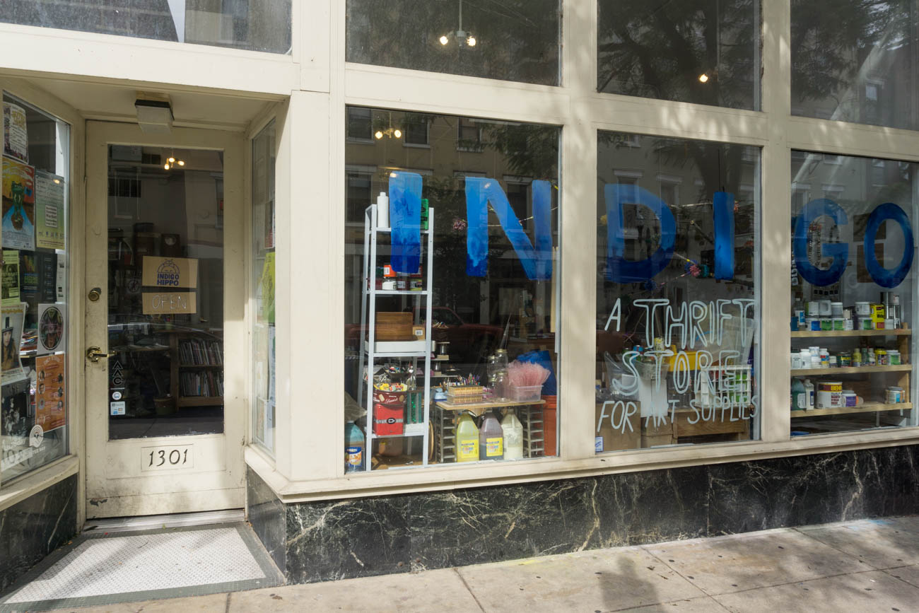 "Indigo Hippo is an art supplies thrift store located in Over-the-Rhine. With a mission to connect the community through creativity and to get art supplies to those who will use it, they collect unwanted art supplies to be sold in store by way of ""pay what you can"" or to be used at one of their Creative Arts Programs. The shop also has a gallery space that features art made through creative reuse and changes monthly. ADDRESS: 1301 Main St. (45202) / Image: Sarah Vester // Published: 9.1.17"