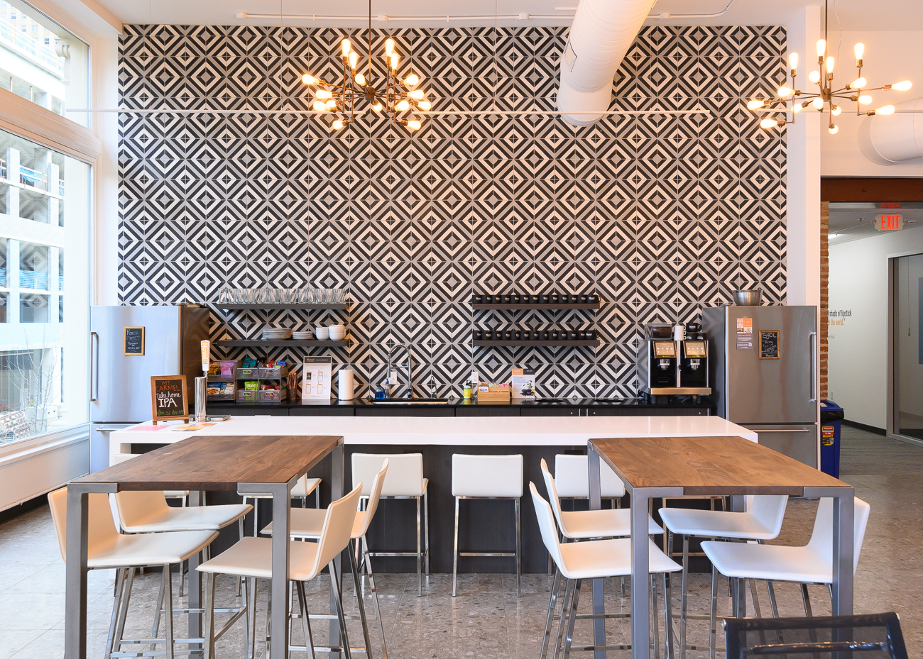 The communal kitchen is located in the open coworking area. An espresso machine and local draft beer are included for members. / Image: Phil Armstrong, Cincinnati Refined // Published: 2.11.20