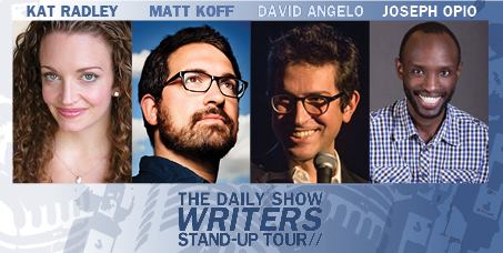 Join the writers of The Daily Show for a night of stand-up comedy, featuring David Angelo, Matt Koff, Joseph Opio and Kat Radley. (Image: Courtesy Arlington Cinema & Drafthouse)