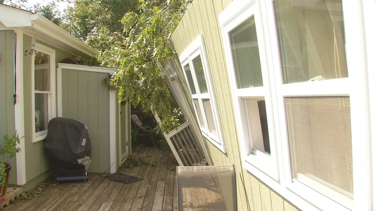 One of the closest calls Newcomb Tree Service workers responded to was a house with a home recording studio in the back. A man was sleeping in the studio when a tree came crashing through the roof early Tuesday morning. (Photo credit: WLOS staff)