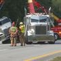 No chemical spill but traffic congestion from tractor-trailer accident
