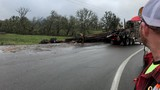 Mechanical issue causes log truck crash in Douglas County