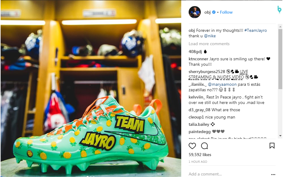{&amp;nbsp;}Odell Beckham Jr. posts on Instagram, a picture of the cleats made by Nike in memory of Jayro Ponce. (Photo courtesy of Instagram-Odell Beckham Jr).<p></p>