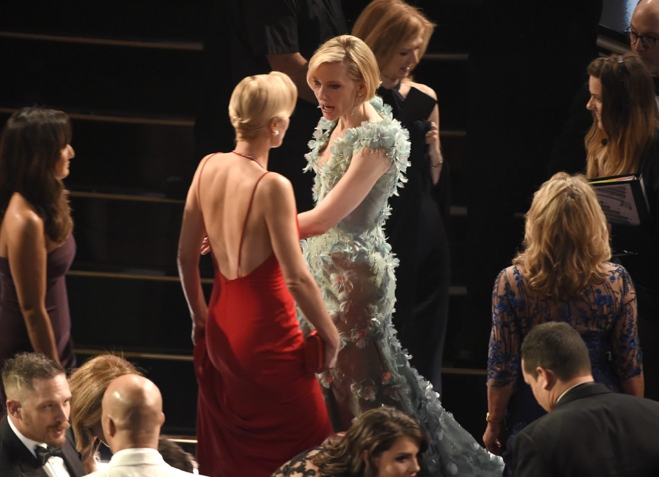 Charlize Theron, left, and Cate Blanchett appear in the audience at the Oscars on Sunday, Feb. 28, 2016, at the Dolby Theatre in Los Angeles. (Photo by Chris Pizzello/Invision/AP)