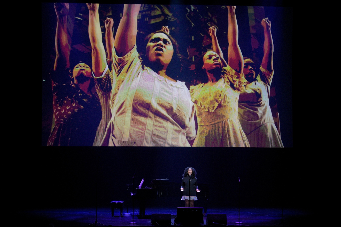 "Adrianna Hicks sings a song from the musical ""The Color Purple"" during a preview for the Smith Center for the Performing Arts 2017-2018 Broadway series preview Tuesday, Feb. 28, 2017, in Reynolds Hall. (Sam Morris/Las Vegas News Bureau)"