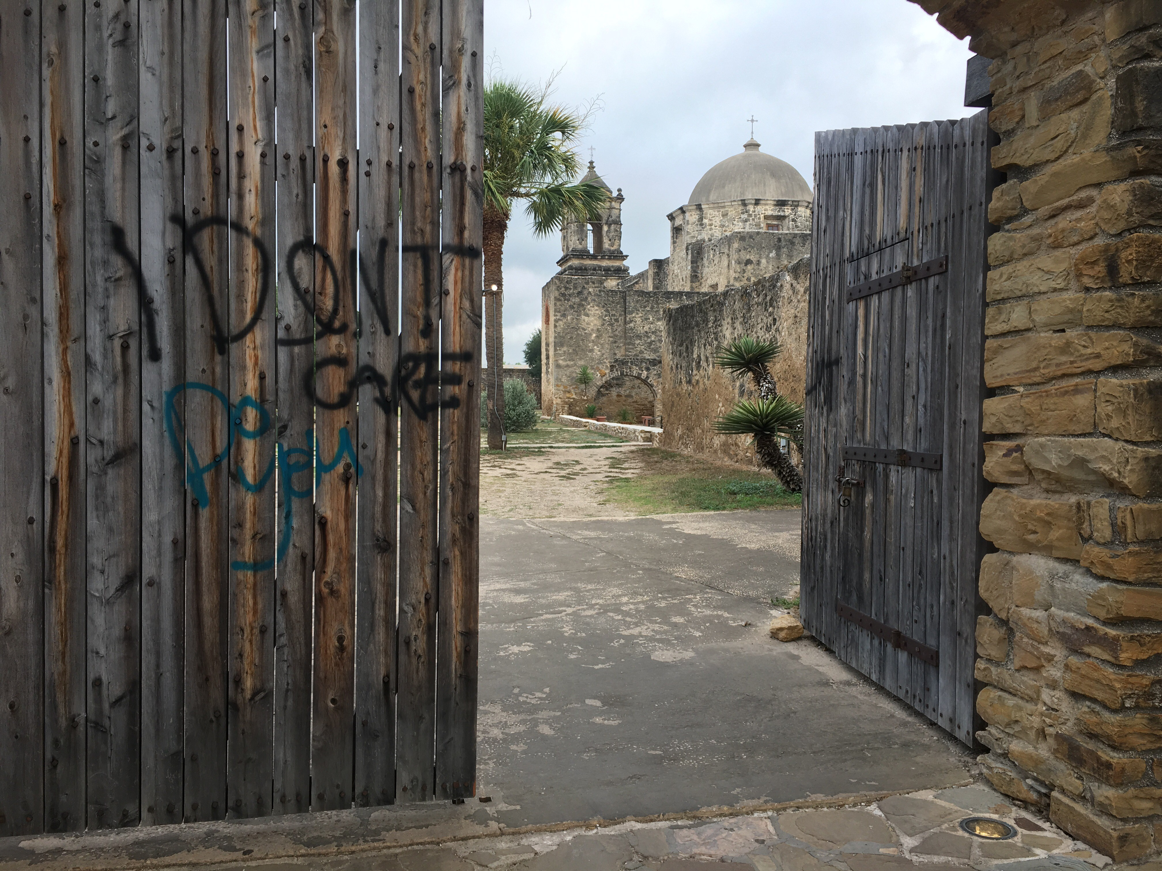 Vandals target Mission San Jose with 'I don't care' message on Friday, June 22, 2018. (Photo: Sinclair Broadcast Group)