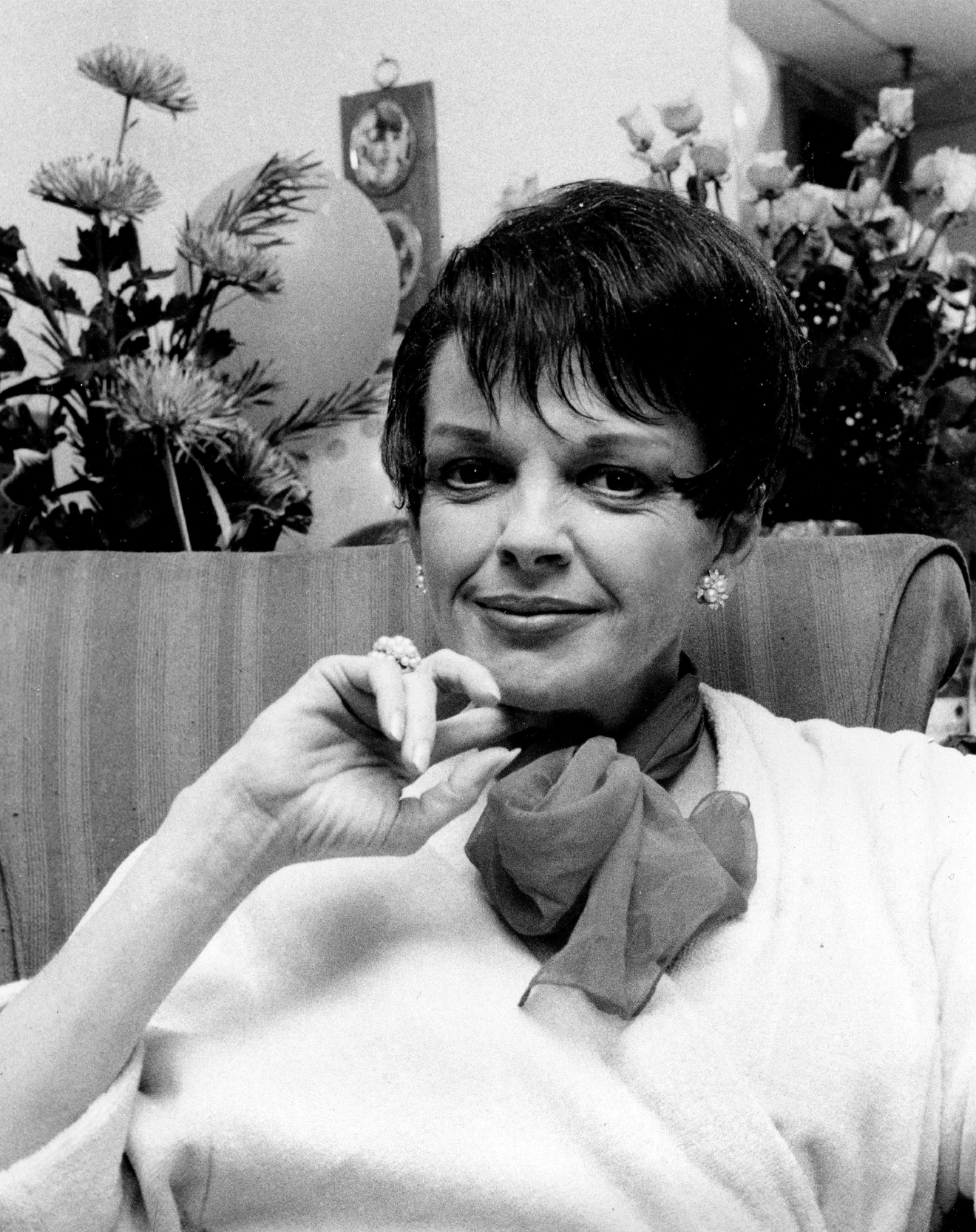 FILE - This July 31, 1967 file photo shows actress-singer Judy Garland backstage at the Palace Theater in New York. (AP Photo, File)
