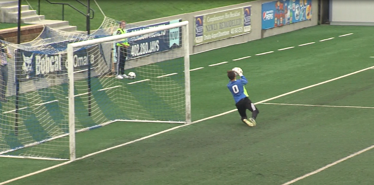 Jacob Hardy makes one of his six saves against Grand Island on May 10, 2017 in the Class A quarterfinal (NTV News)