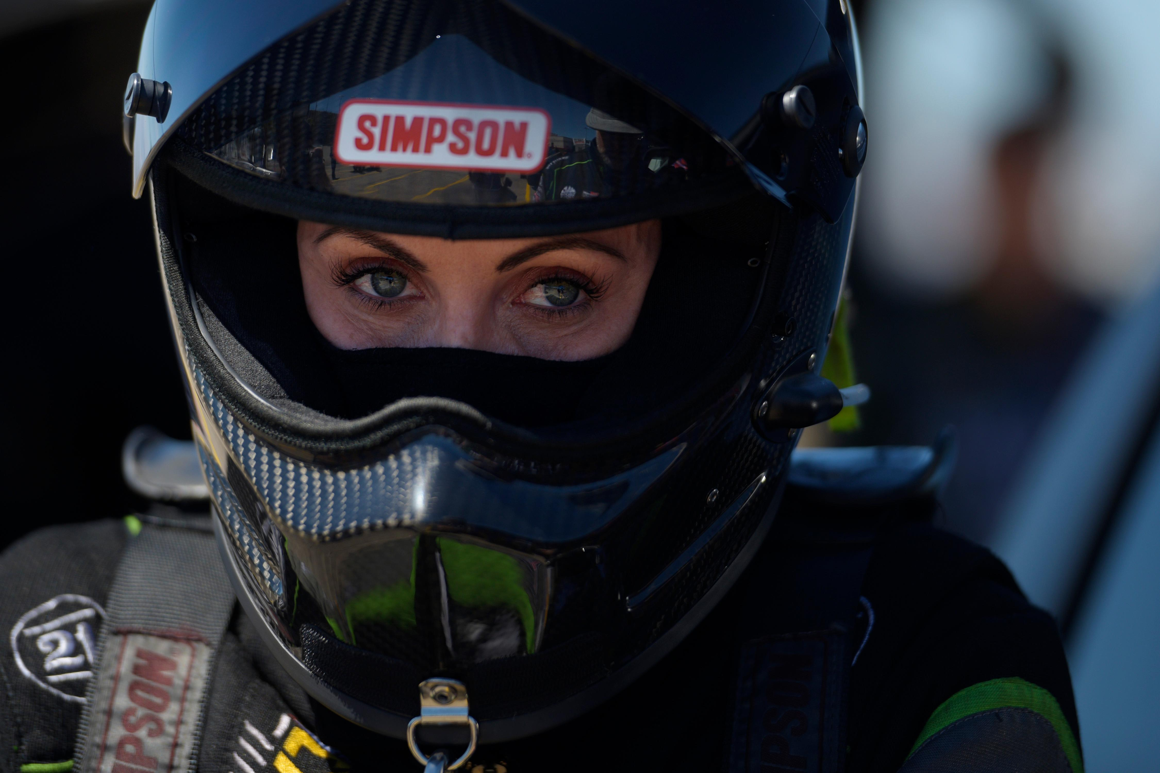 Funny Car driver Alexis DeJoria gets suited up during the NHRA DENSO Spark Plug Nationals at The Strip at the Las Vegas Motor Speedway Sunday, April 2, 2017. (Sam Morris/Las Vegas News Bureau)