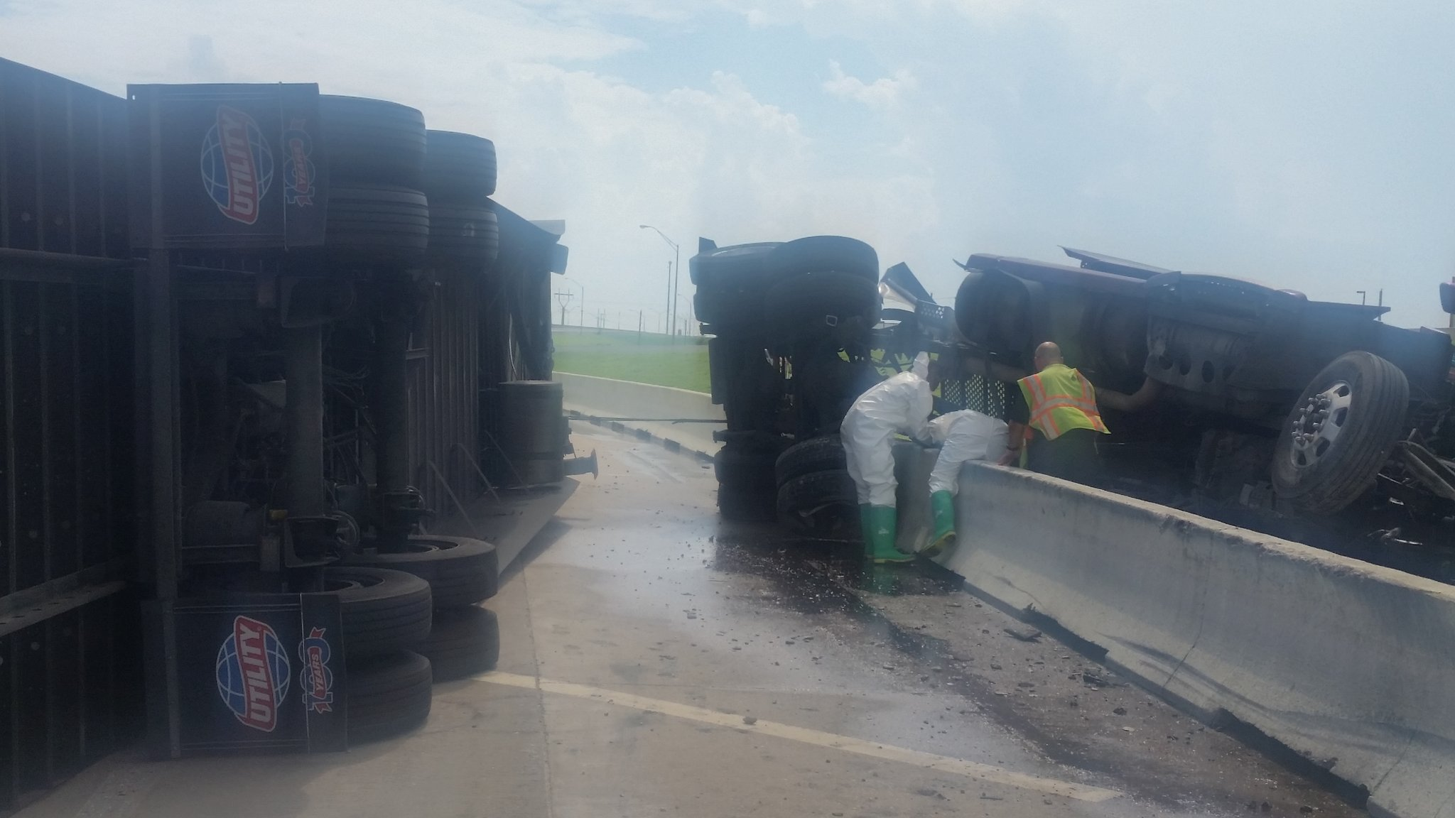 Crews work to clear the scene of a crash August 15 near downtown Oklahoma City. (Courtesy of Cpt. Paul Timmons)