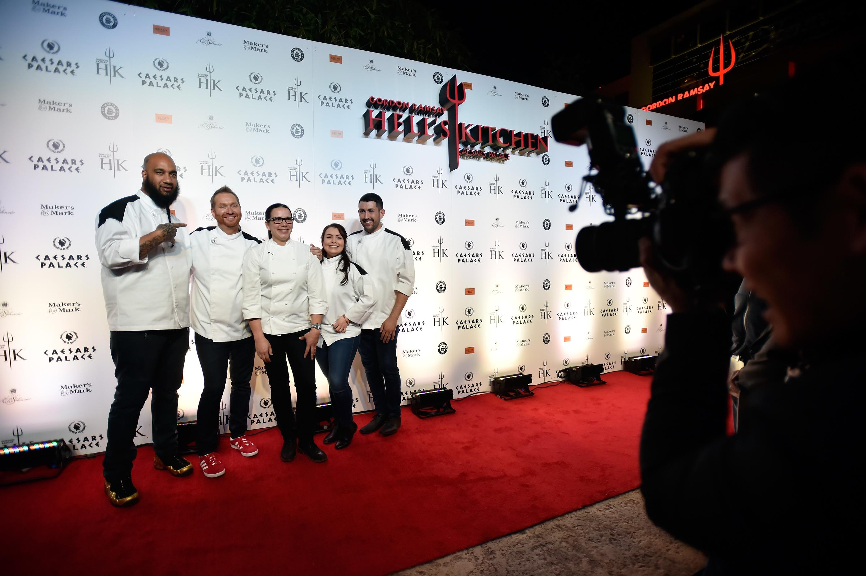 From left, Hell's Kitchen season 17 finalists Emili Medley, Benjamin Knack, Hell's Kitchen season 10 winner Christina Wilson and Hell's Kitchen season 17 finalists Michelle Tribble and Nick Bond pose on the grand opening red carpet of Gordon Ramsay Hell's Kitchen at Caesars Palace Friday, Jan. 26, 2018, in Las Vegas. CREDIT: David Becker/Las Vegas News Bureau