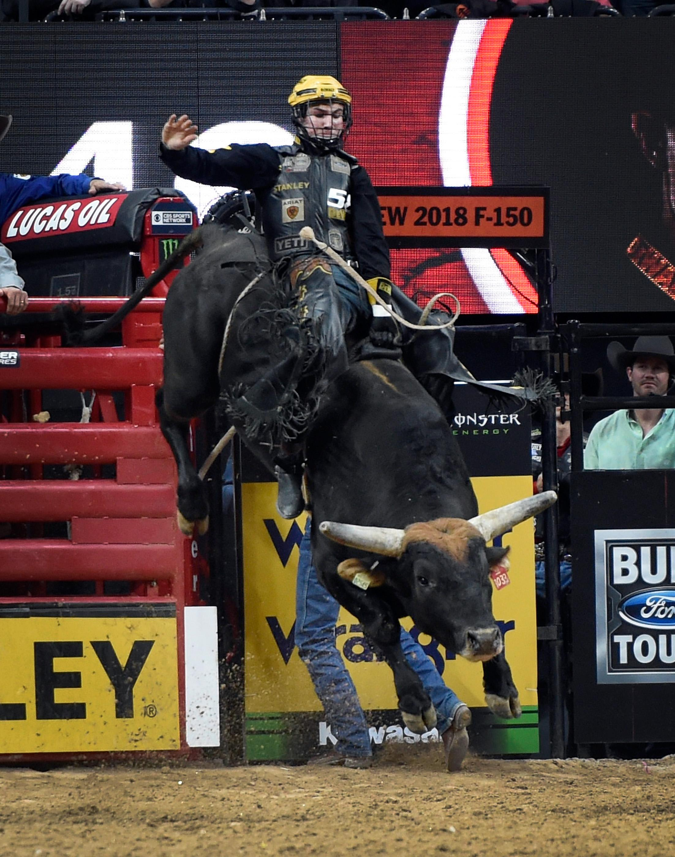 Jess Lockwood rides Short Night during the final round at the PBR World Finals at T-Mobile Arena Sunday, Nov. 5, 2017, in Las Vegas. Lockwood was named the 2017 PBR World Champion. [David Becker/Las Vegas News Bureau]