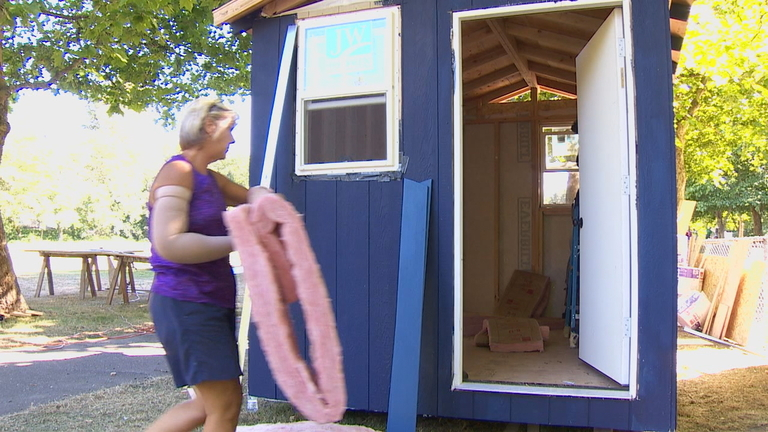 Volunteers New Story Church, in partnership with the Skyway Boys and Girls Club came together Wednesday, July 18, 2018, to help build a tiny house for one of Seattle's homeless villages. (Photo: KOMO News)