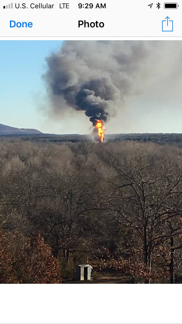 The Pittsburg County Sheriff's Office says a fire was reported near Quinton, Okla., Monday morning. Viewers say they heard and felt an explosion at the site of the rig. (Courtesy Teresa Burdick)