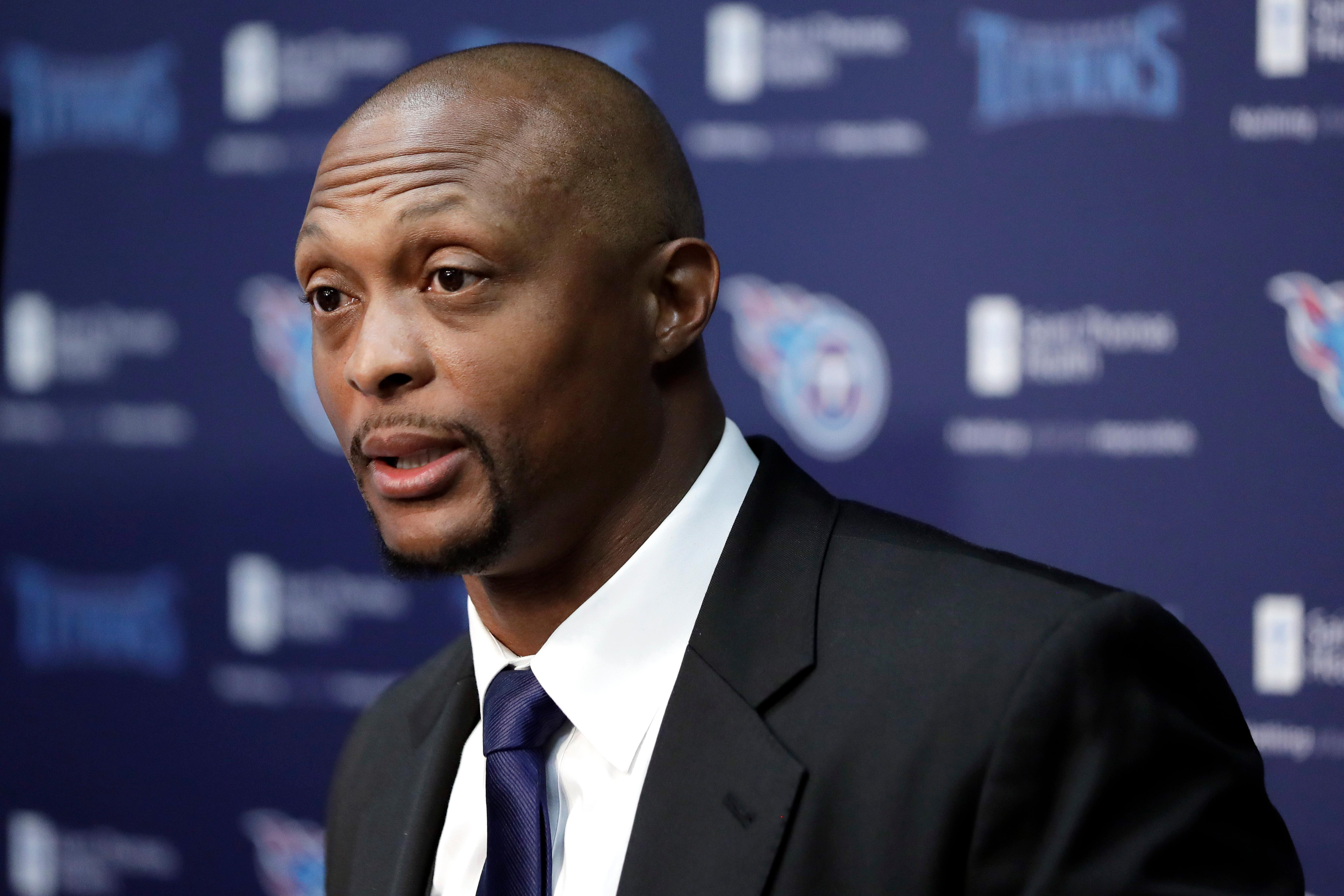 Former Tennessee Titans running back Eddie George speaks during an announcement at the Titans' NFL football training facility Wednesday, June 12, 2019, in Nashville, Tenn., that his number will be retired. The team will retire George's No. 27 and former quarterback Steve McNair's No. 9 on Sept. 15 at their home opener against the Indianapolis Colts. (AP Photo/Mark Humphrey)