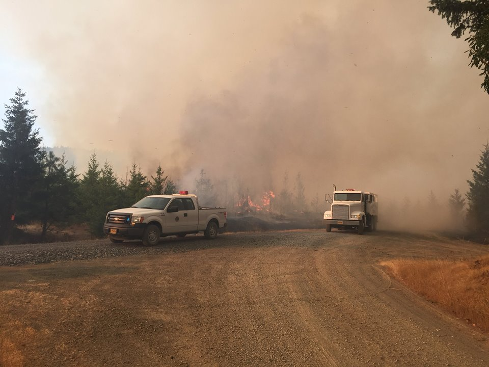The Horse Prairie Fire burning near Camas Valley, August 26, 2017. (Courtesy DFPA / Horse Prairie Fire Information)